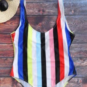 NWT Zaful   striped rainbow one piece swimsuit L